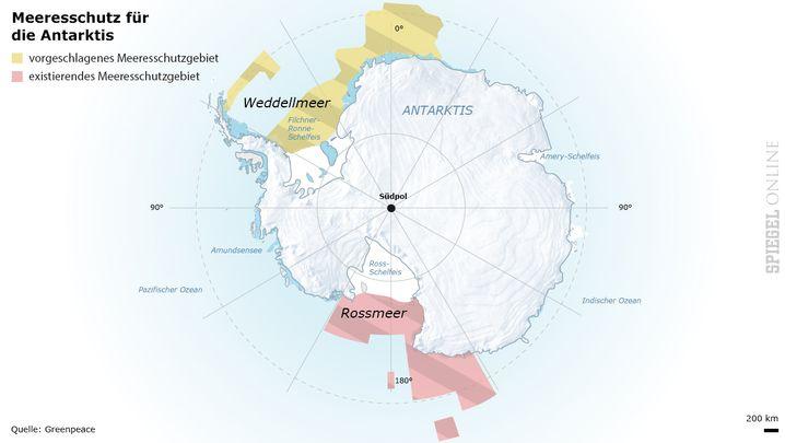 Existierendes und geplantes Schutzgebiet in Antarktis