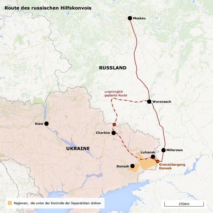 Karte Route Hilfstransport Russland Ukraine