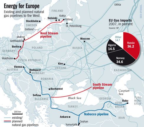 Map: Existing and planned natural gas pipelines to Europe