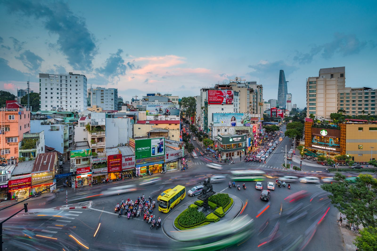 Beautiful Sunset over Downtown Saigon - the biggest city in Vietnam