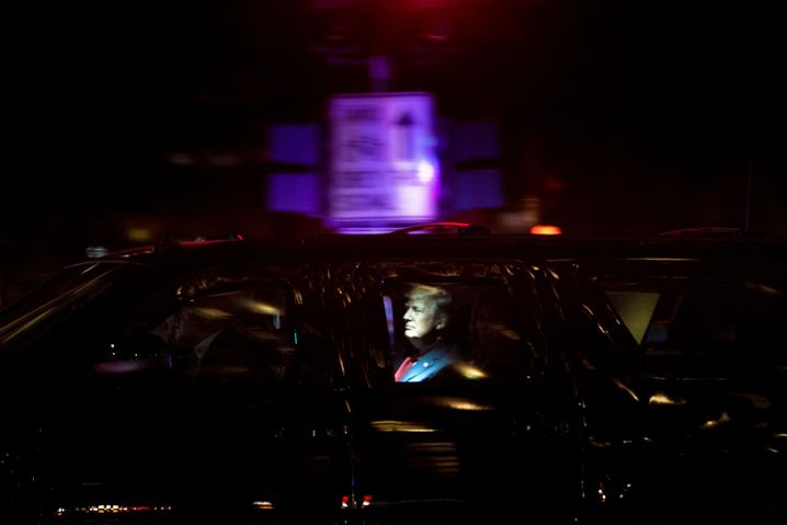 Präsident Trump in gepanzerter Limousine