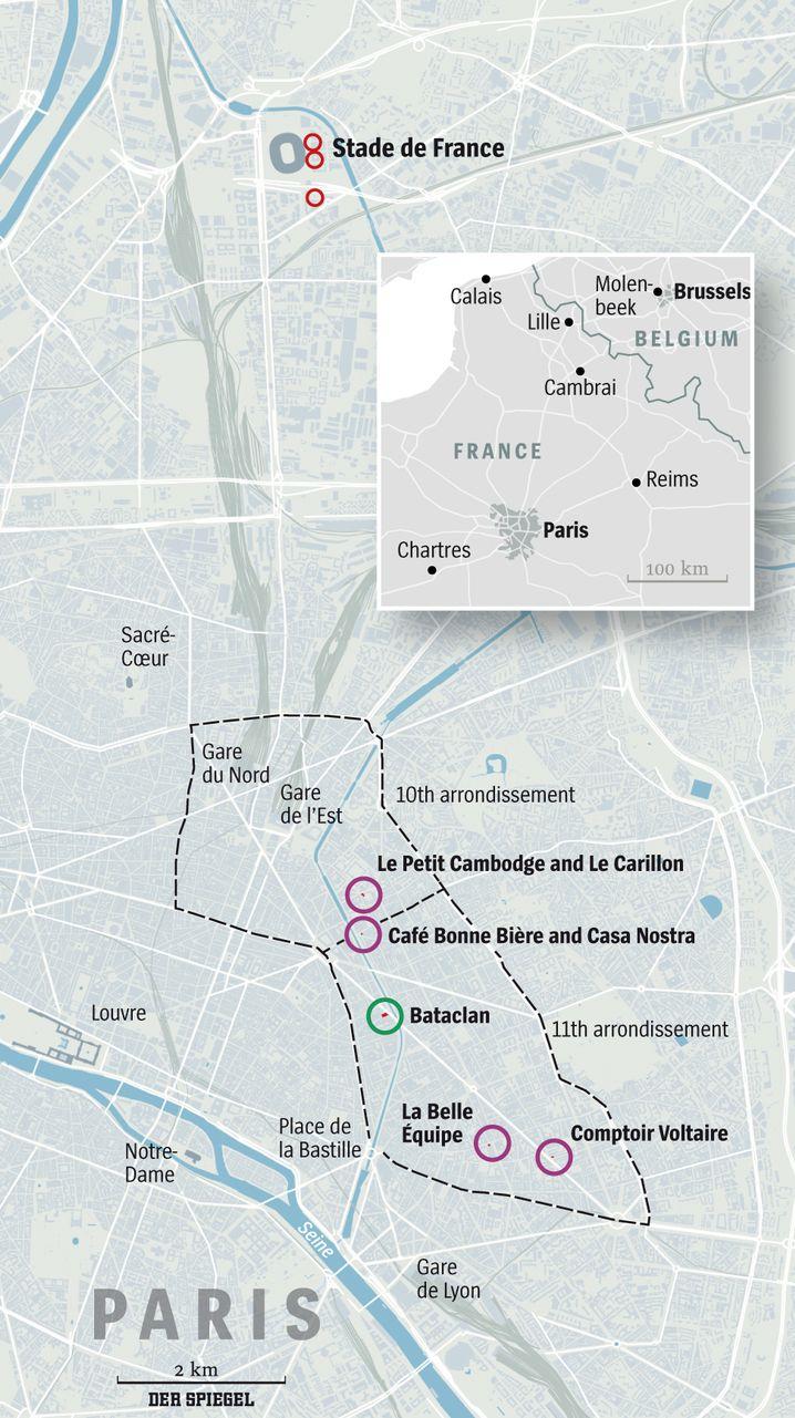 Map of the Paris Attacks