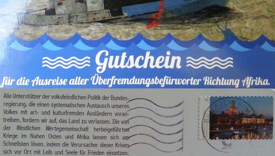 """Postkarte der rechtsextremen Partei """"Der Dritte Weg"""""""
