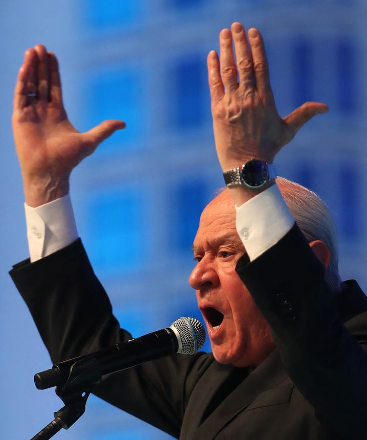 Devlet Bahçeli, head of the right-wing extremist Nationalist Movement Party (MHP)