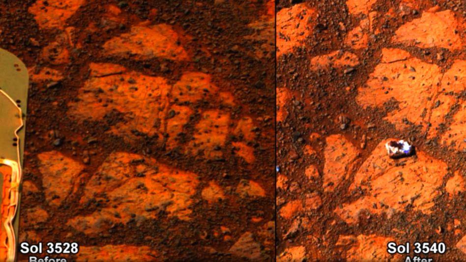 """Vorher-Nachher-Bild auf dem Mars: Innerhalb von zwölf Marstagen tauchte plötzliche ein Stein neben """"Opportunity"""" auf"""