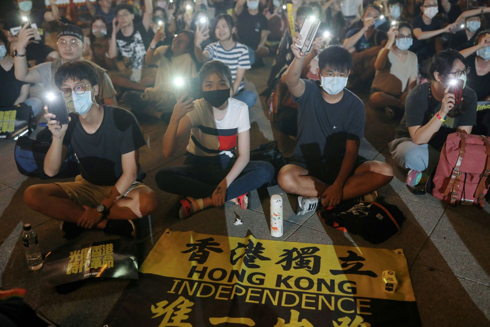 FILE PHOTO: Supporters of Hong Kong anti-government movement gather at Liberty Square in Taipei