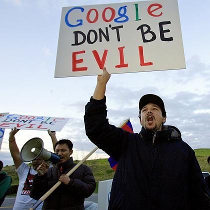 Anti-Google-Demo: Tibet-freundliche Studenten demonstrieren vor Googles Hauptsitz gegen die China-Politik des Konzerns