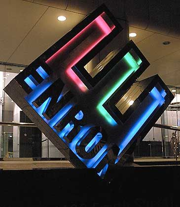Enron-Zentrale: Der klimaktischer Moment, als das E entblößt wird