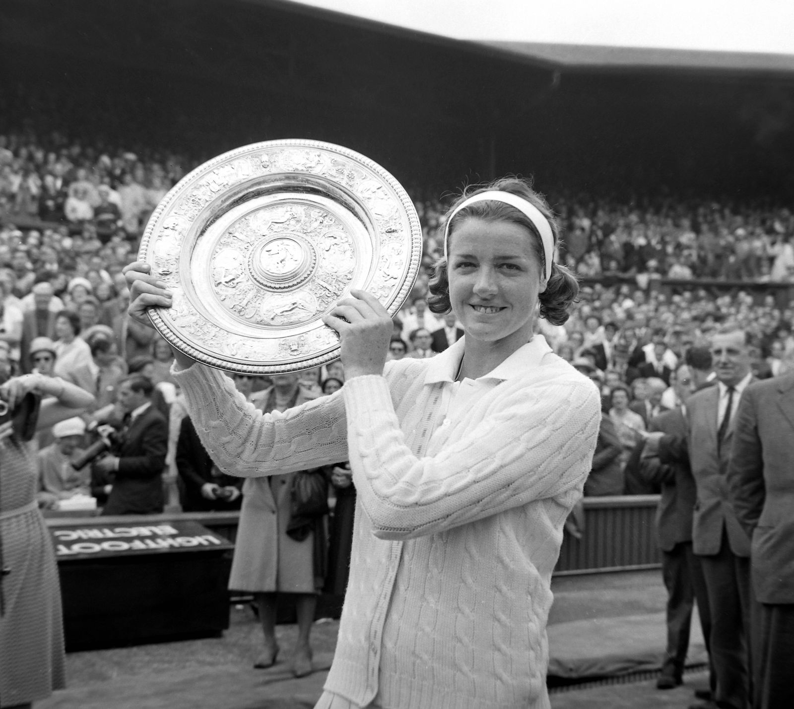 8 JULY 1963 MARGARET SMITH OF AUSTRALIA HOLDS UP THE TROPHY AFTER WINNING THE LADIES SINGLES AT THE ALL ENGLAND LAWN TE