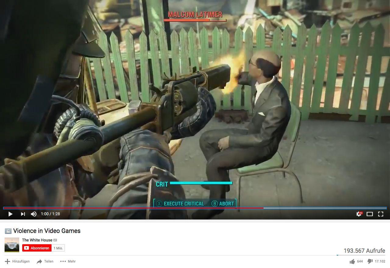EINMALIGE VERWENDUNG Screenshot/ White House Youtube/ Videospiele Gewalt