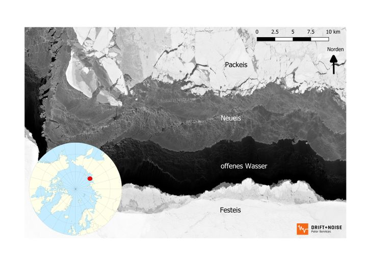 Neueisbildung in der Laptewsee vor der russischen Küste im Satellitenbild
