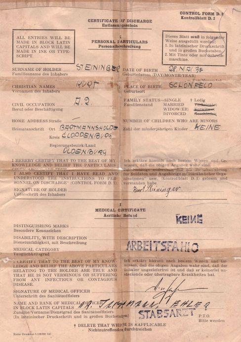 Entlassung aus der englischen Gefangenschaft: Mit diesem Schein kam Kurt Steininger, angeblich aus Cloppenburg, zunächst frei