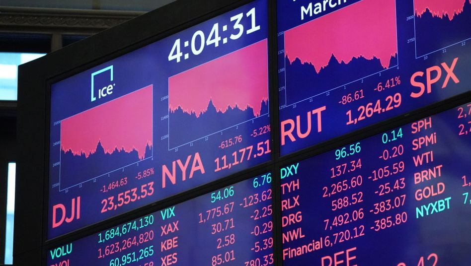 Nichts im grünen Bereich: Anzeigetafeln an der Wall Street nach Börsenschluss