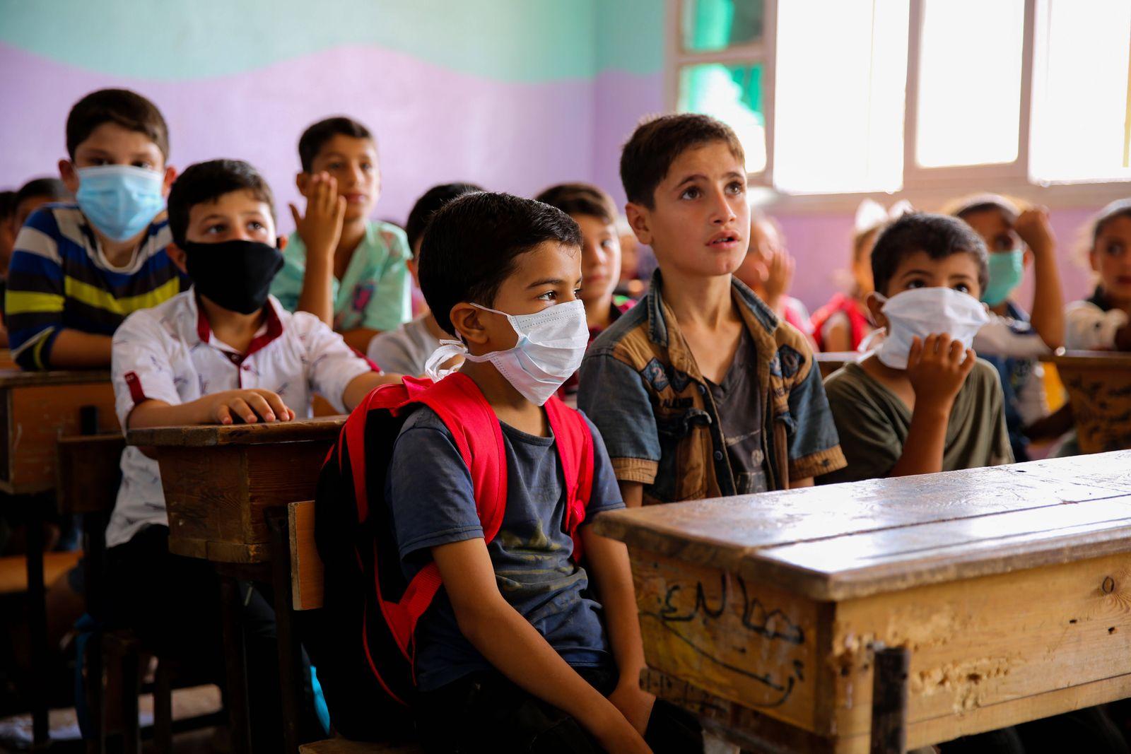September 28, 2020: Idlib, Syria. 28 September 2020. Children return to school at the beginning of the new academic year