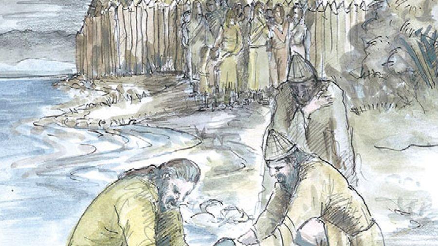 Zeichnung eines verzweifelten Rituals: Siedlungsbewohner legen die Schädel ihrer Kinder vor die Flutmauern