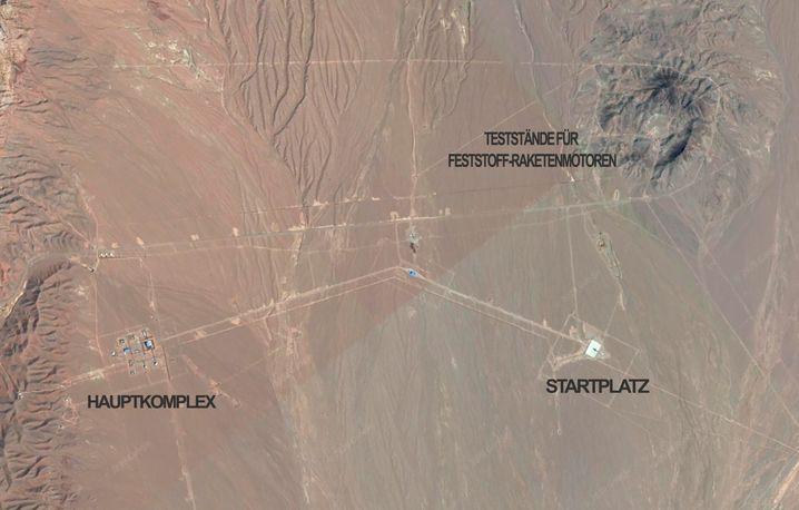 Satellitenbild des geheimen Startgeländes bei Schahrud