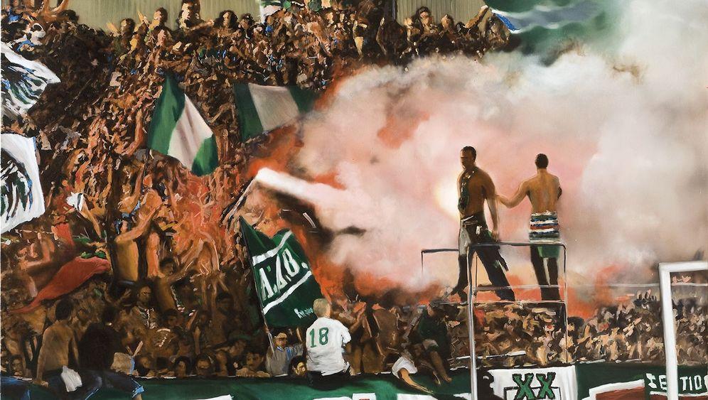 Fußballmalerei: Feuer aus Öl
