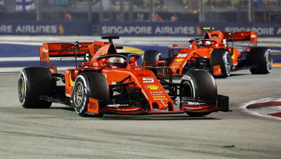 Sebastian Vettel führte lange vor Charles Leclerc