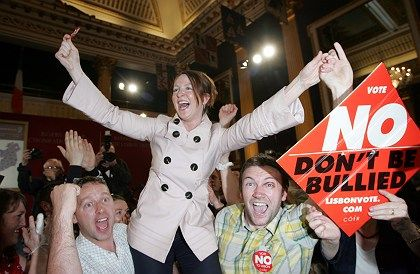 "Supporters of the ""no"" vote celebrate in Dublin after the Lisbon Treaty was rejected."