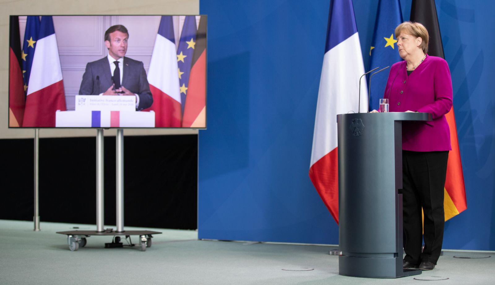 Merkel And Macron Hold Joint Press Conference During The Coronavirus Crisis