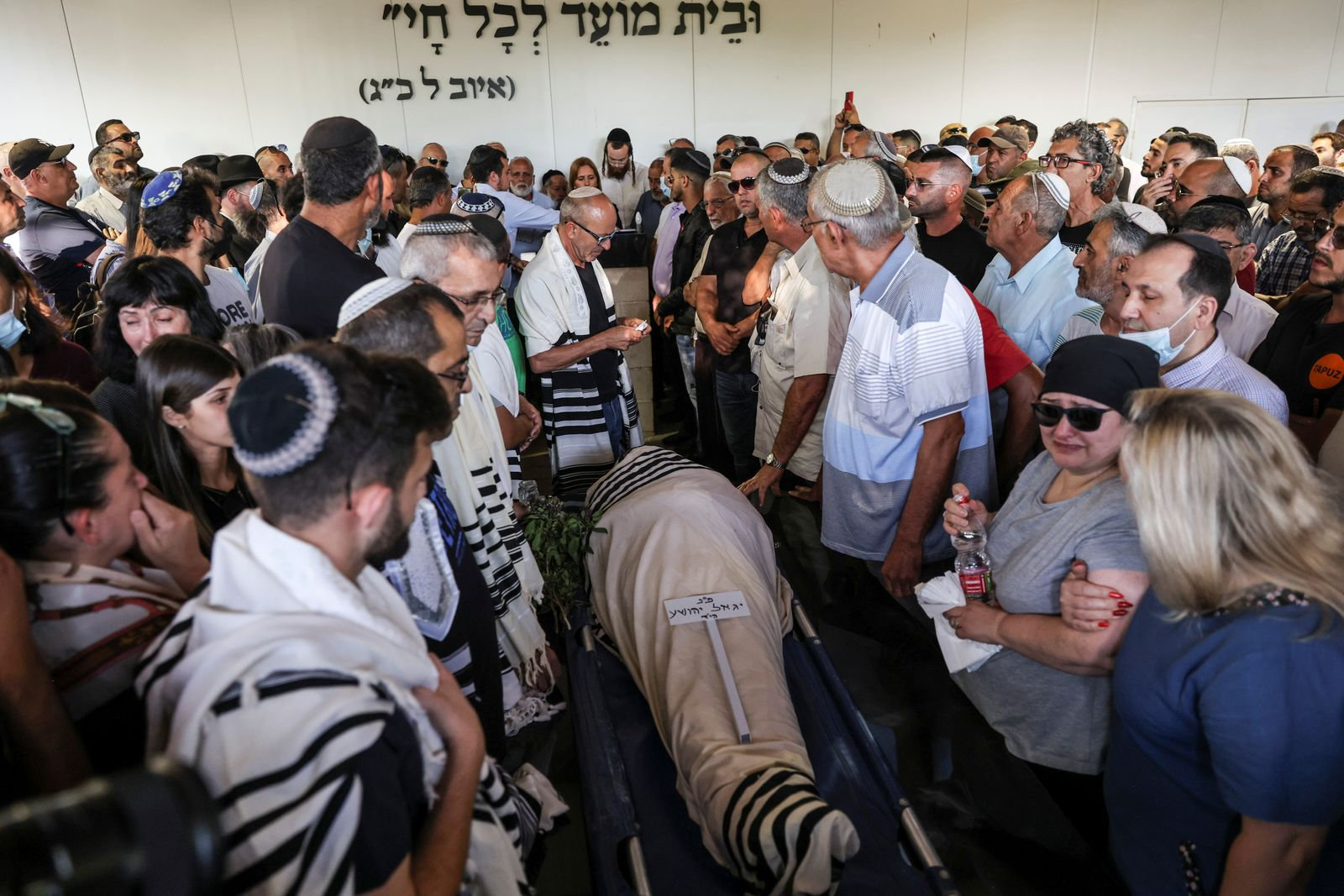 Funeral of Israeli man, Yigal Yehoshua, who died after succumbing to his wounds, sustained during Arab-Jewish violence in the mixed city of Lod, at a cemetery in Moshav Hadid