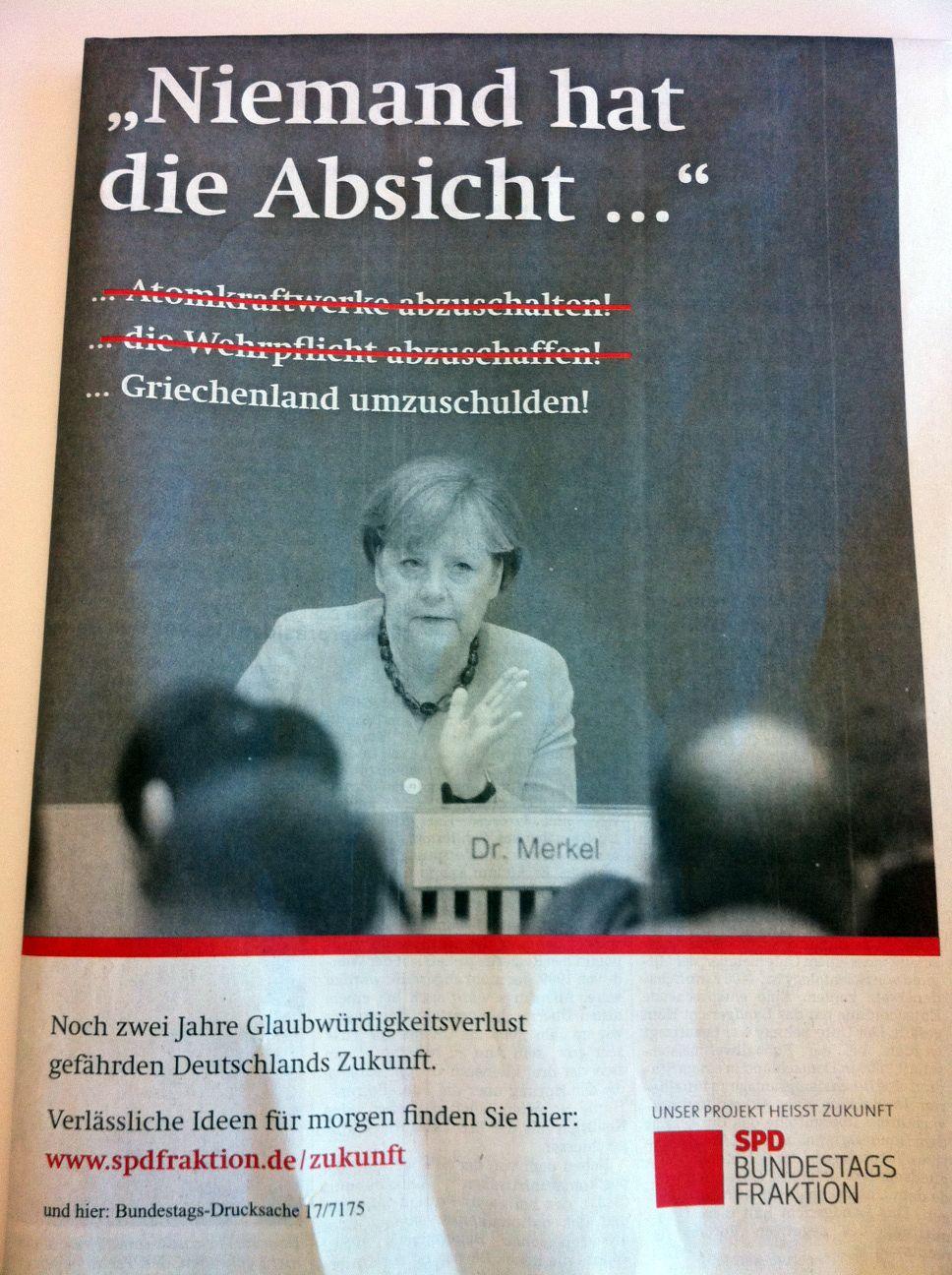 EINMALIGE VERWENDUNG SPD Anzeige