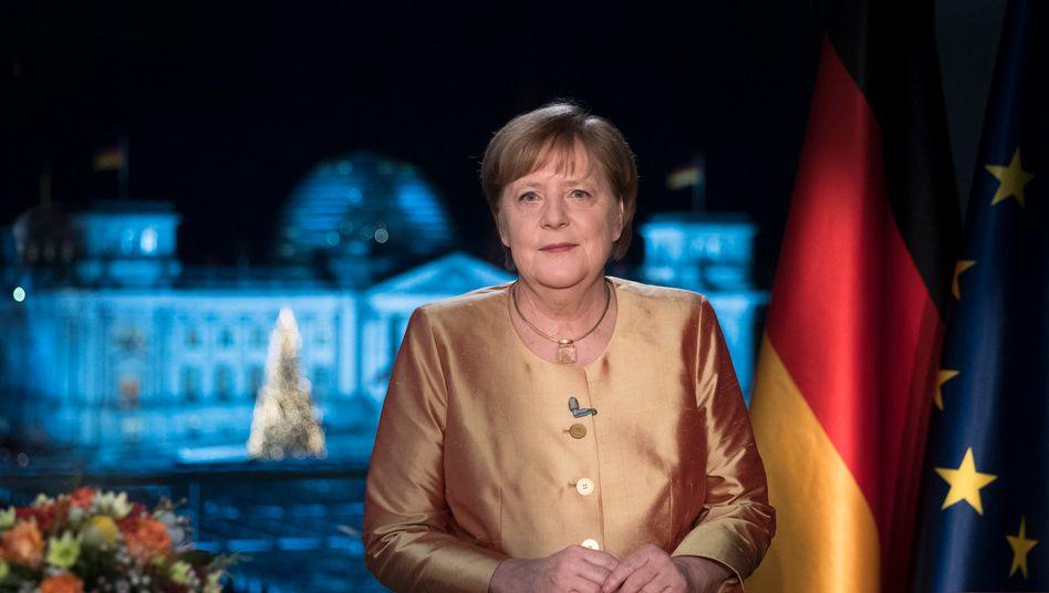 Bundeskanzlerin Angela Merkel bei ihrer Neujahrsansprache 2020