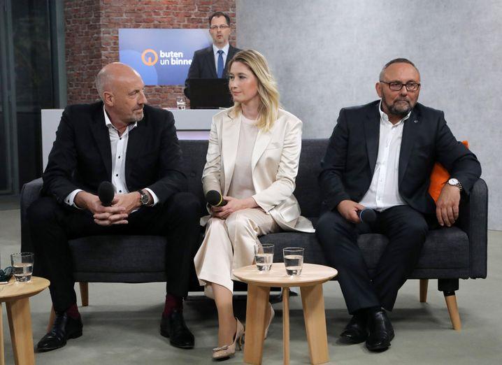 Bremer CDU-Spitzenkandidat Carsten Meyer-Heder, FDP-Kandidatin Lenke Steiner und AfD-Kandidat Frank Magnitz am Wahlabend im TV.