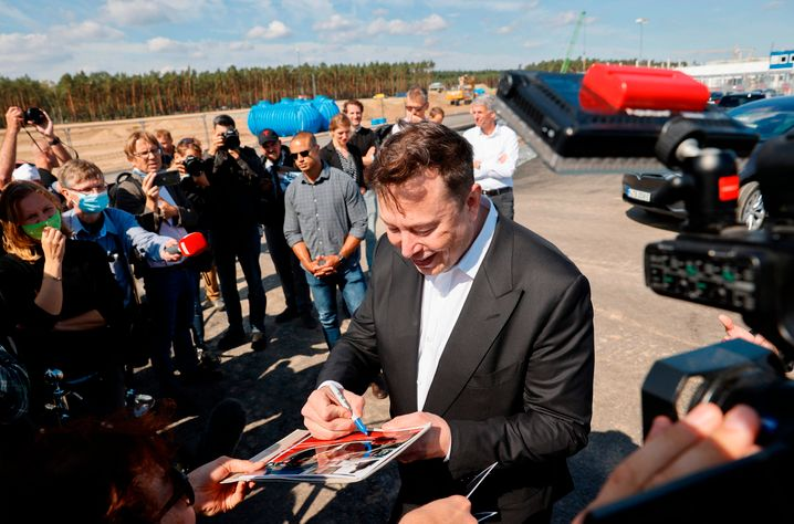 Elon Musk during a visit to the construction site of the Tesla factory near Berlin