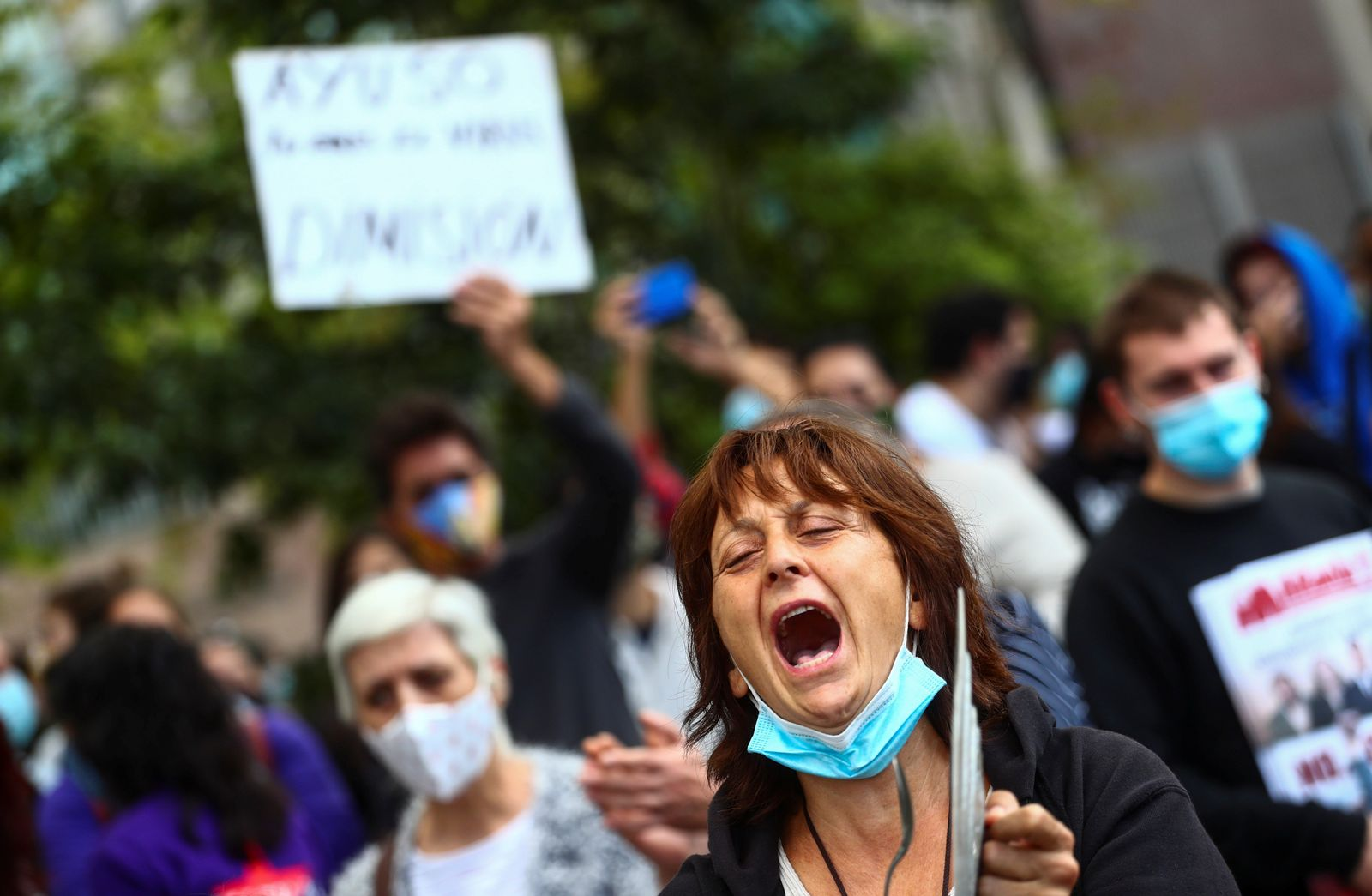 Protest against the regional government?s measures, in Madrid