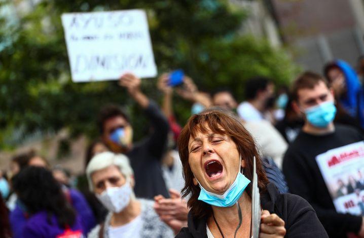 Demonstrierende in Madrid