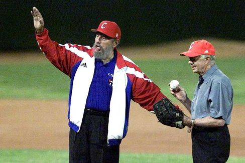 Cuban President Fidel Castro and former US president Jimmy Carter at a baseball game in 2002 in Havana.