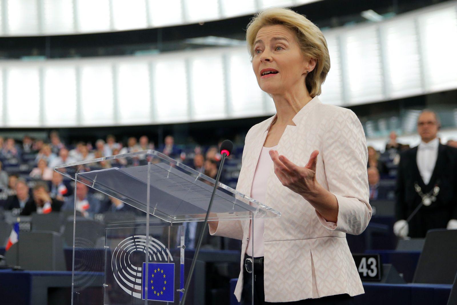 Designated European Commission President von der Leyen delivers a speech during a debate on her election at the European Parliament in Strasbourg