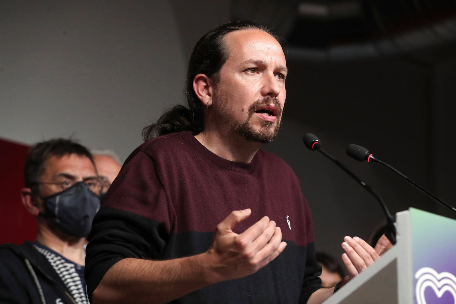Unidas Podemos candidate to Madrid regional elections and former Spanish Vice President Pablo Iglesias delivers a speech
