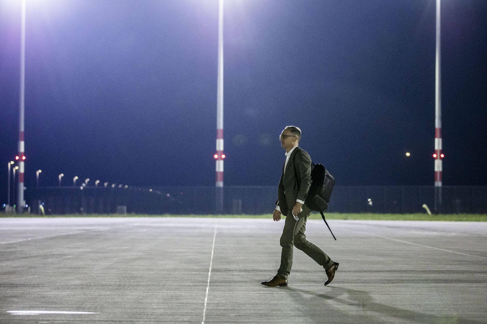 Heiko Maas, Bundesaussenminister, aufgenommen vor Abflug nach Libyen in Berlin, 09.09.2021. Maas reist nach Libyen fuer