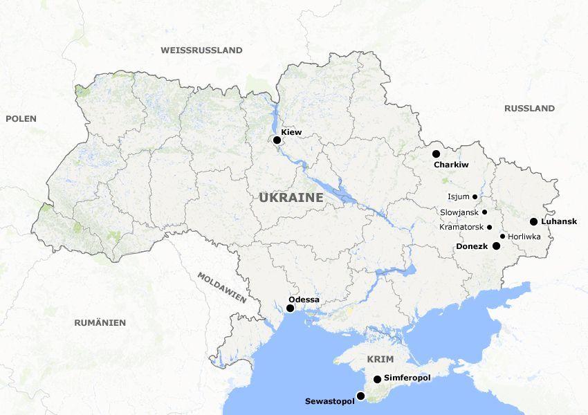 Karte Ukraine und Nachbarländer