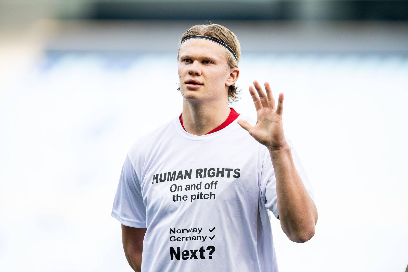 210327 Erling Braut Haaland of Norway ahead of the FIFA World Cup, WM, Weltmeisterschaft, Fussball Qualifier football m