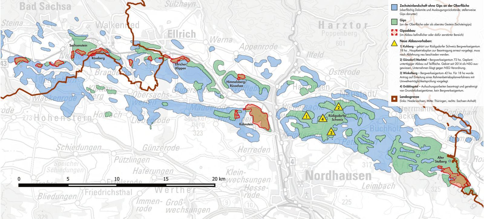 EINMALIGE VERWENDUNG Rohstoffabbau/ Thüringen/ Gips/ Karte