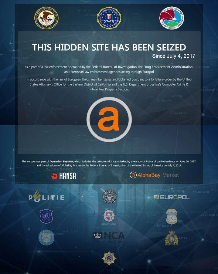 Meldung des US-Justizministeriums auf der ehemaligen Internet-Präsenz von AlphaBay