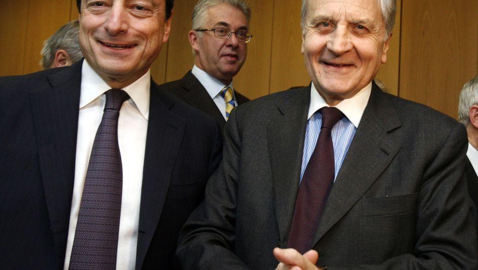EZB-Präsident Mario Draghi (l.) und sein Vorgänger Jean-Claude Trichet