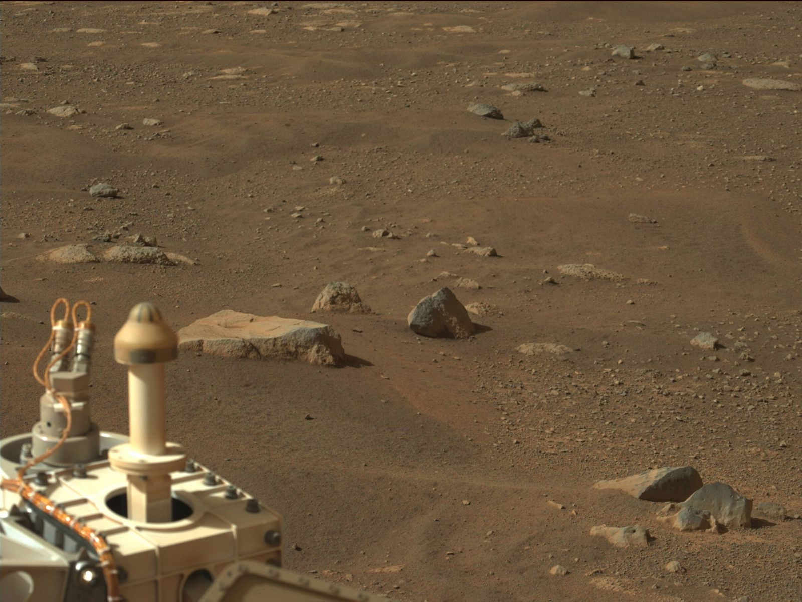 NASA s Mars Perseverance rover acquired this image using its Left Mastcam-Z camera. Mastcam-Z is a pair of cameras loca