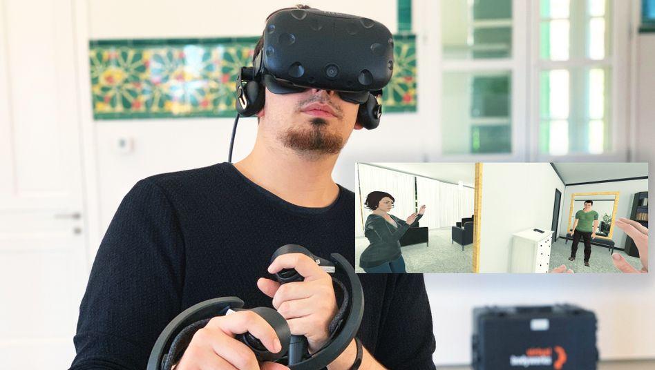 In einem VR-Erlebnis des spanischen Start-ups Virtual Bodyworks übernehmen Nutzer die Perspektive der Frau