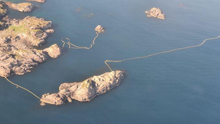 Zum Einfangen von Walen an der Küste der Lofoten gespannte Netze