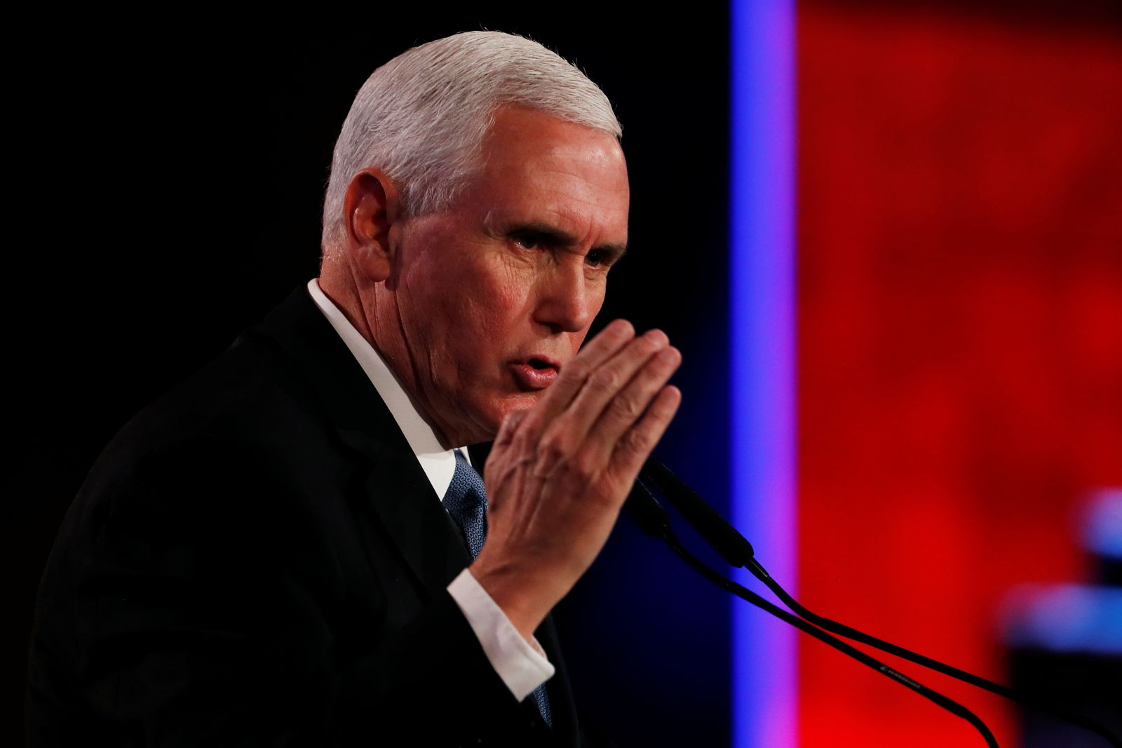 U.S. Vice President Mike Pence speaks at the World Holocaust Forum marking 75 years since the liberation of the Nazi extermination camp Auschwitz, at Yad Vashem Holocaust memorial centre in Jerusalem