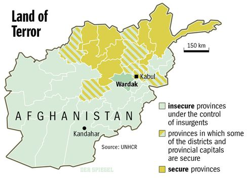 Map: Secure and insecure areas of Afghanistan