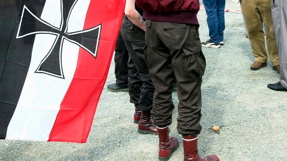 Neo-Nazis gather in Wunsiedel in 2001 for a parade to honor Hitler deputy Rudolf Hess.