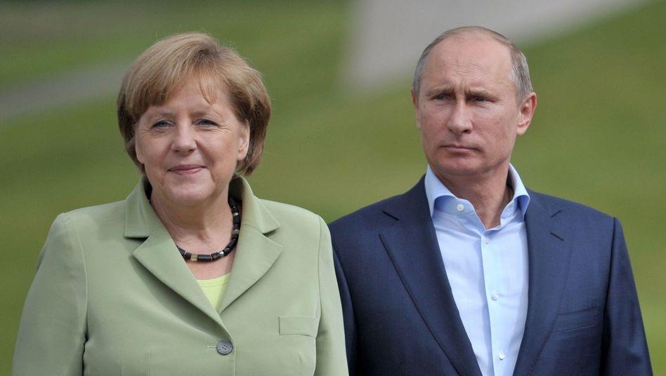 """Merkel und Putin (Archivbild): """"Territoriale Integrität muss gewahrt bleiben"""""""