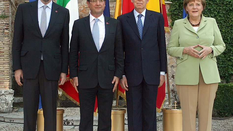 Sidelined? Chancellor Merkel, with (from right to left) Italian Italian Prime Minister Mario Monti, French President Francois Hollande and Spanish Prime Minister Mariano Rajoy.