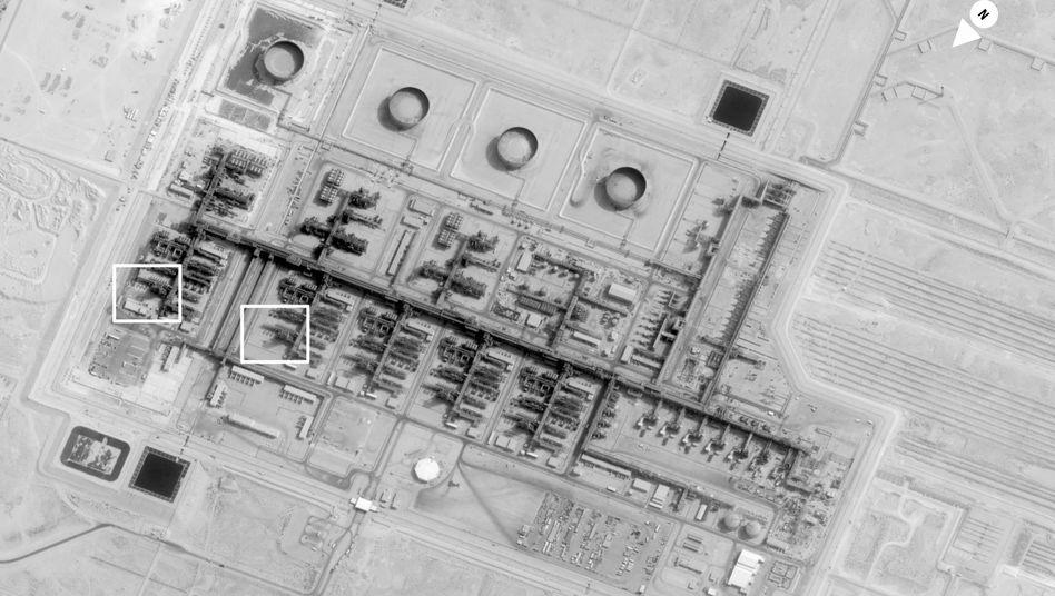 Aufnahme der Ölanlage im saudi-arabischen Buqyaq vor der Attacke