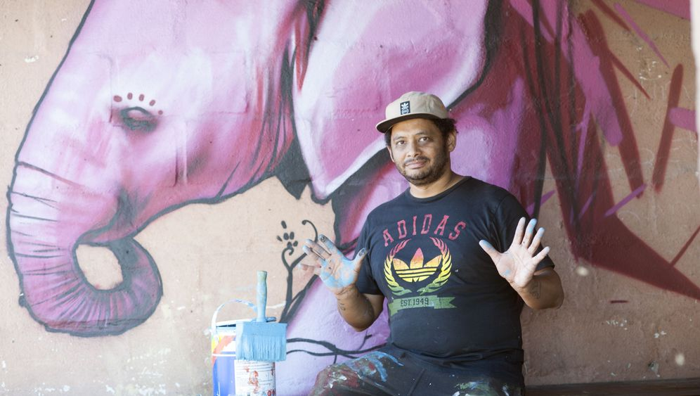 Graffiti in Kapstadt: Blaue Elefanten der Townships